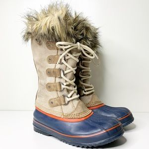 Sorel lace up tall faux fur boots
